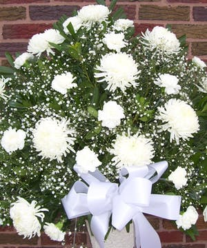 White Mums and Carnations