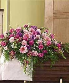 Sympathy Casket Spray in Shades of Pink