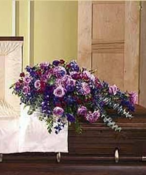 Sympathy Casket Spray Shades of Purple