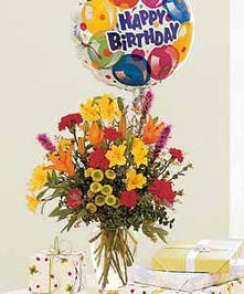 Celebrate with Flowers, Balloon Included!