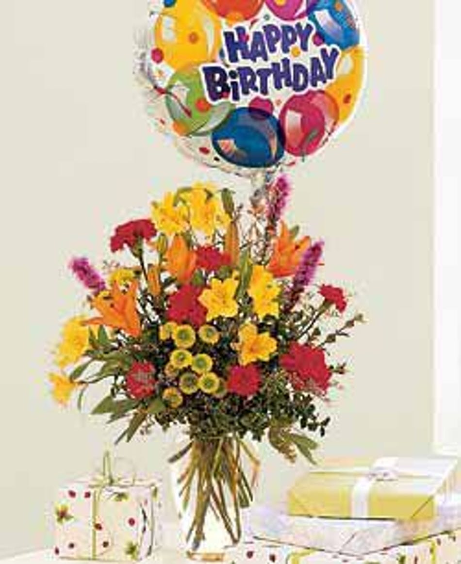 Birthday Explosion Celebrate With Flowers Balloon Included