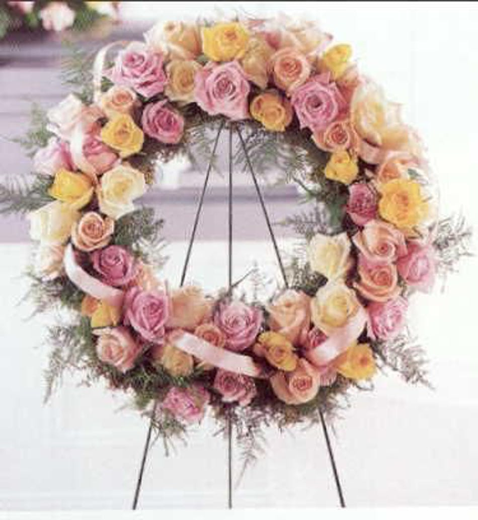 Standing funeral wreath with over 100 pastel rosebuds flower available for nationwide delivery izmirmasajfo