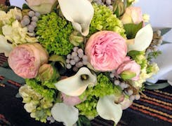 A lush bouquet of pinks and greens from a recent wedding